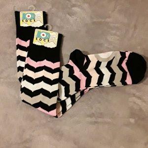 Mod sock kneehigh socks 2pair blk striped pink